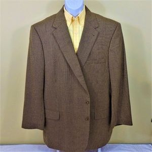 Jos A Bank Sport Coat Brown 100% Wool 2-Button 52